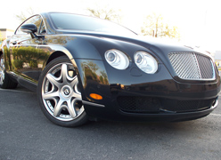 A Front of A Bentley With Clear Bra Protection