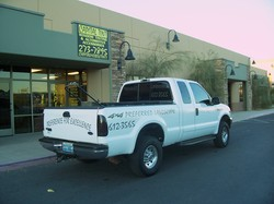 White Truck With Preferred Capital Vinyl Graphics